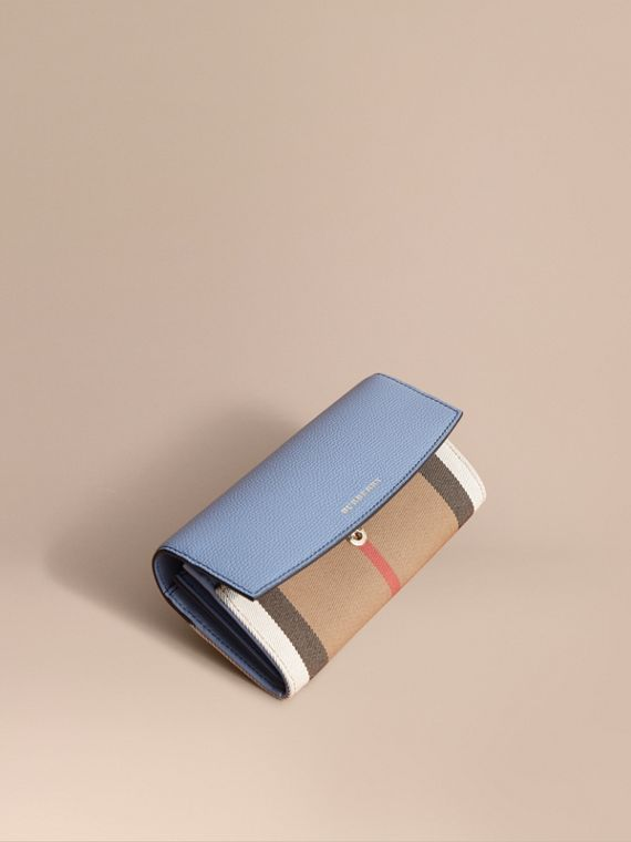 House Check And Leather Continental Wallet in Slate Blue - Women | Burberry Singapore
