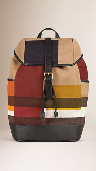 Colour Block Canvas Check Backpack
