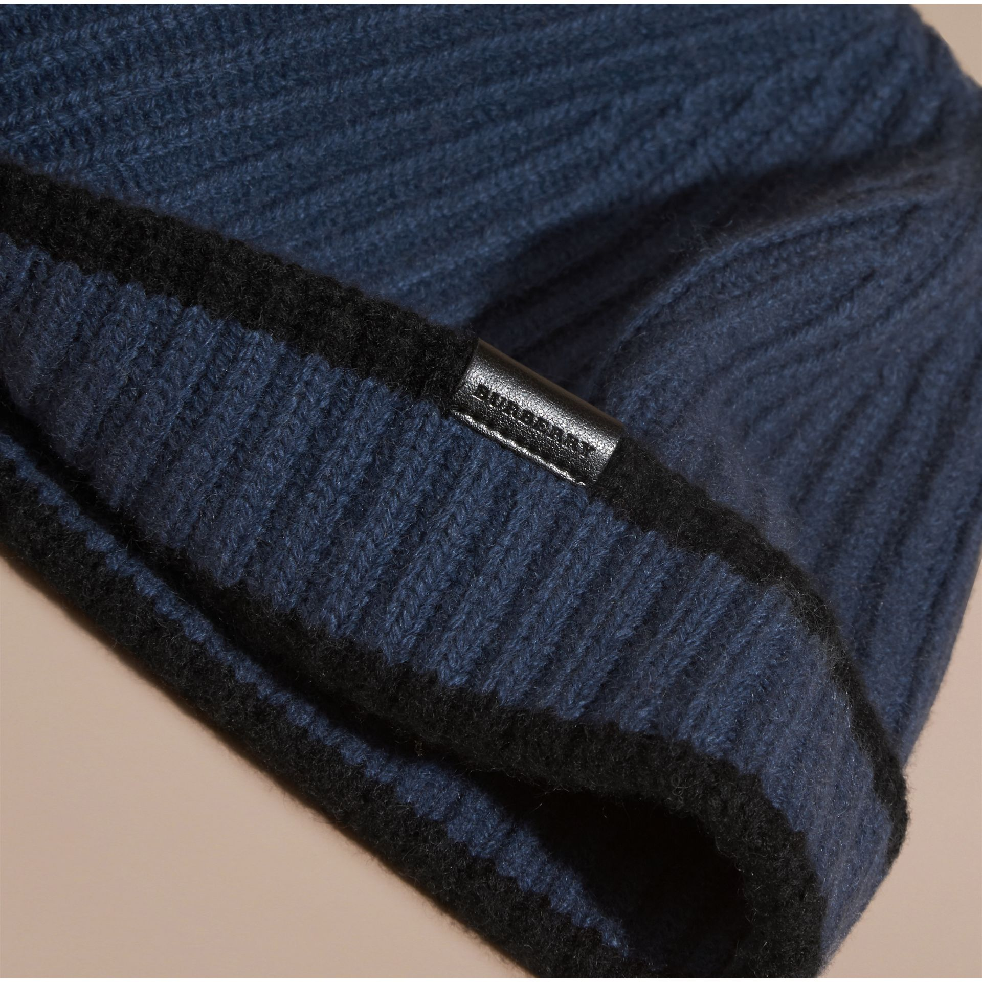 Brt navy blue/black Ribbed Cashmere Tipped Beanie - gallery image 3