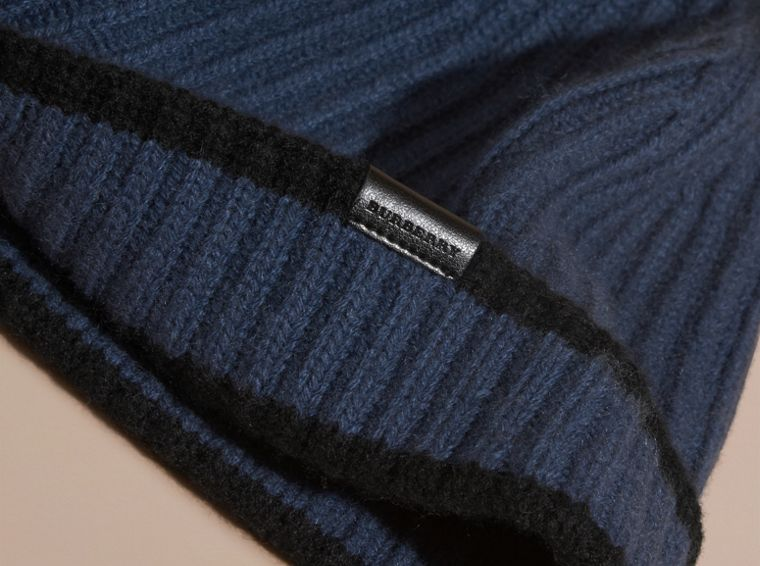 Brt navy blue/black Ribbed Cashmere Tipped Beanie - cell image 2