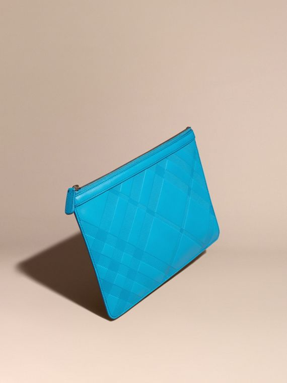 Check-embossed Leather Pouch Blue Azure