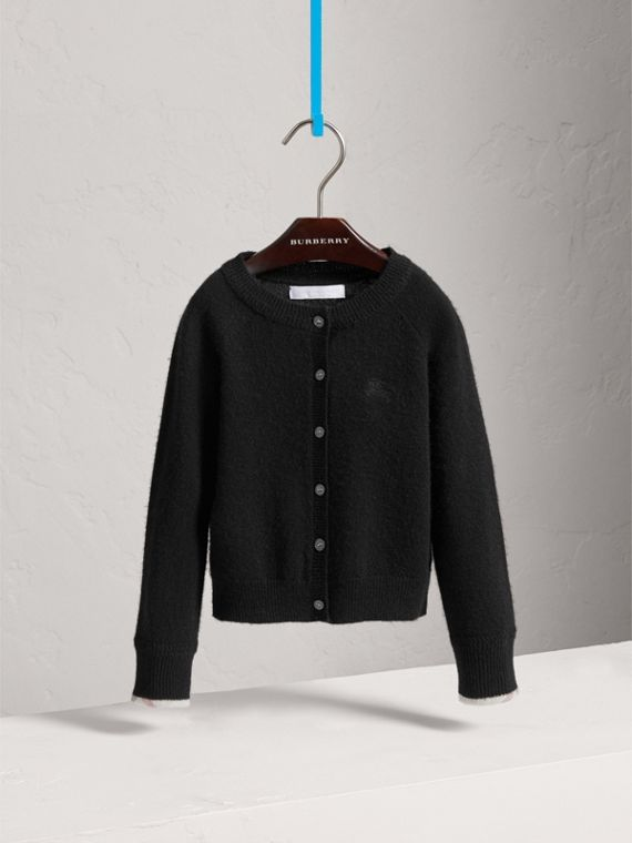 Check Detail Cashmere Cardigan in Black - Girl | Burberry - cell image 2