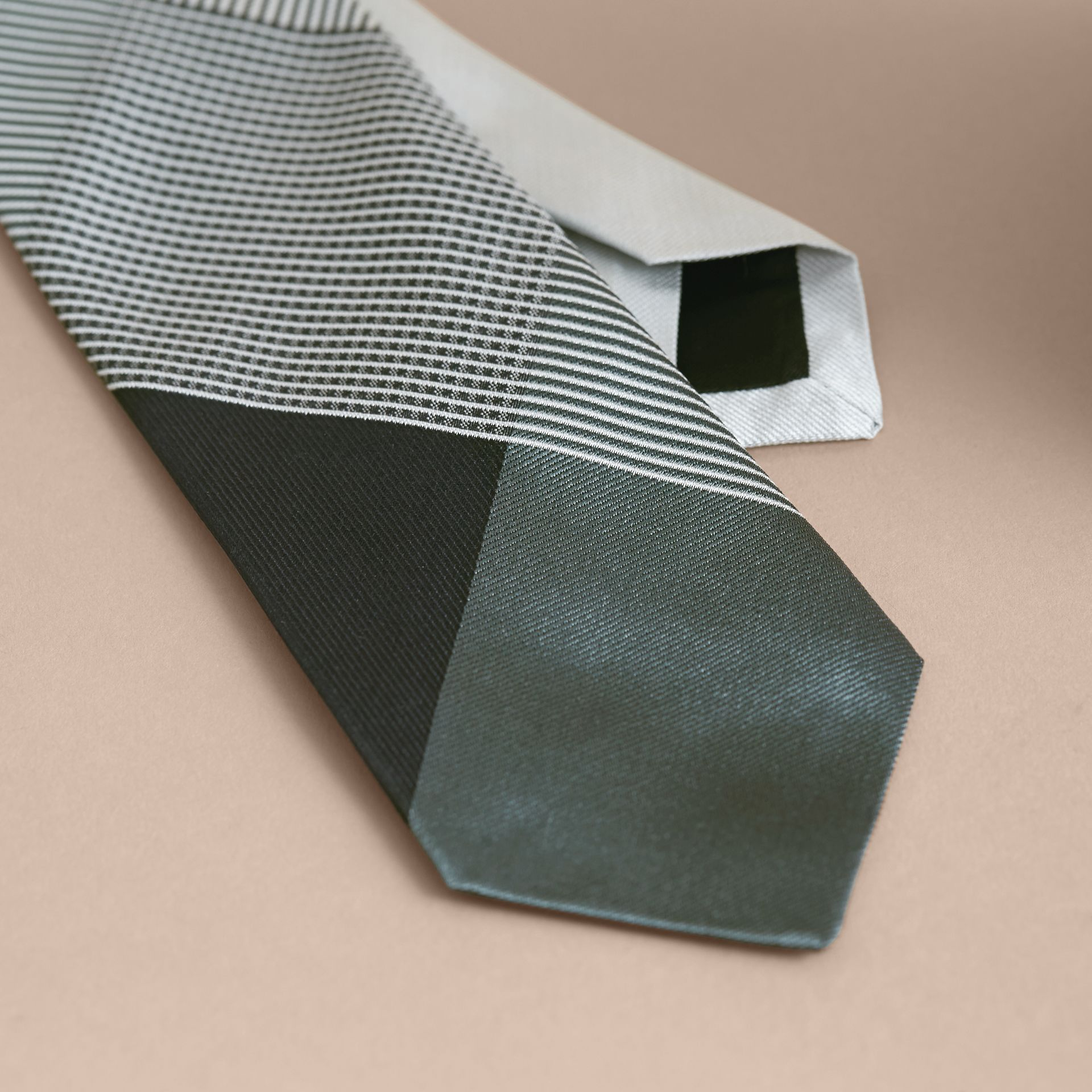 Modern Cut Gingham Check Silk Jacquard Tie in Slate Green - Men | Burberry Australia - gallery image 2