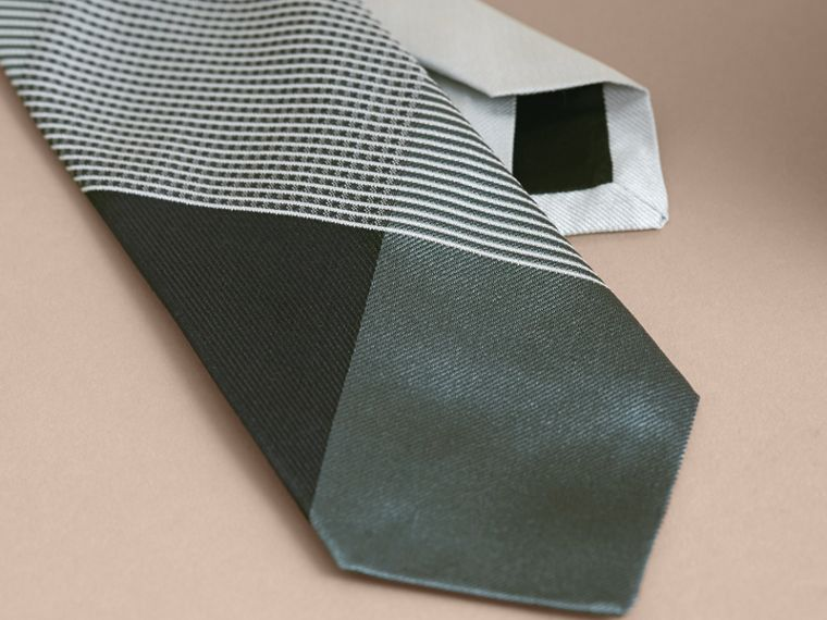 Modern Cut Gingham Check Silk Jacquard Tie in Slate Green - Men | Burberry - cell image 1