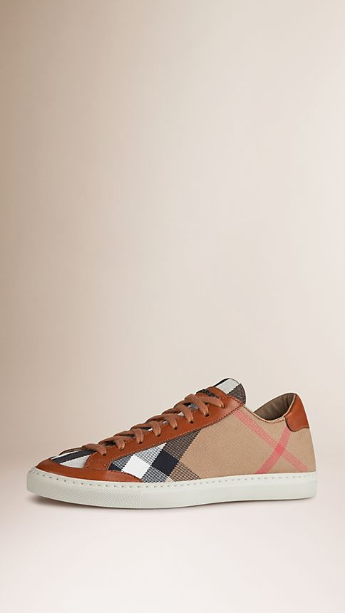 Tan House Check Canvas Trainers - Image 1