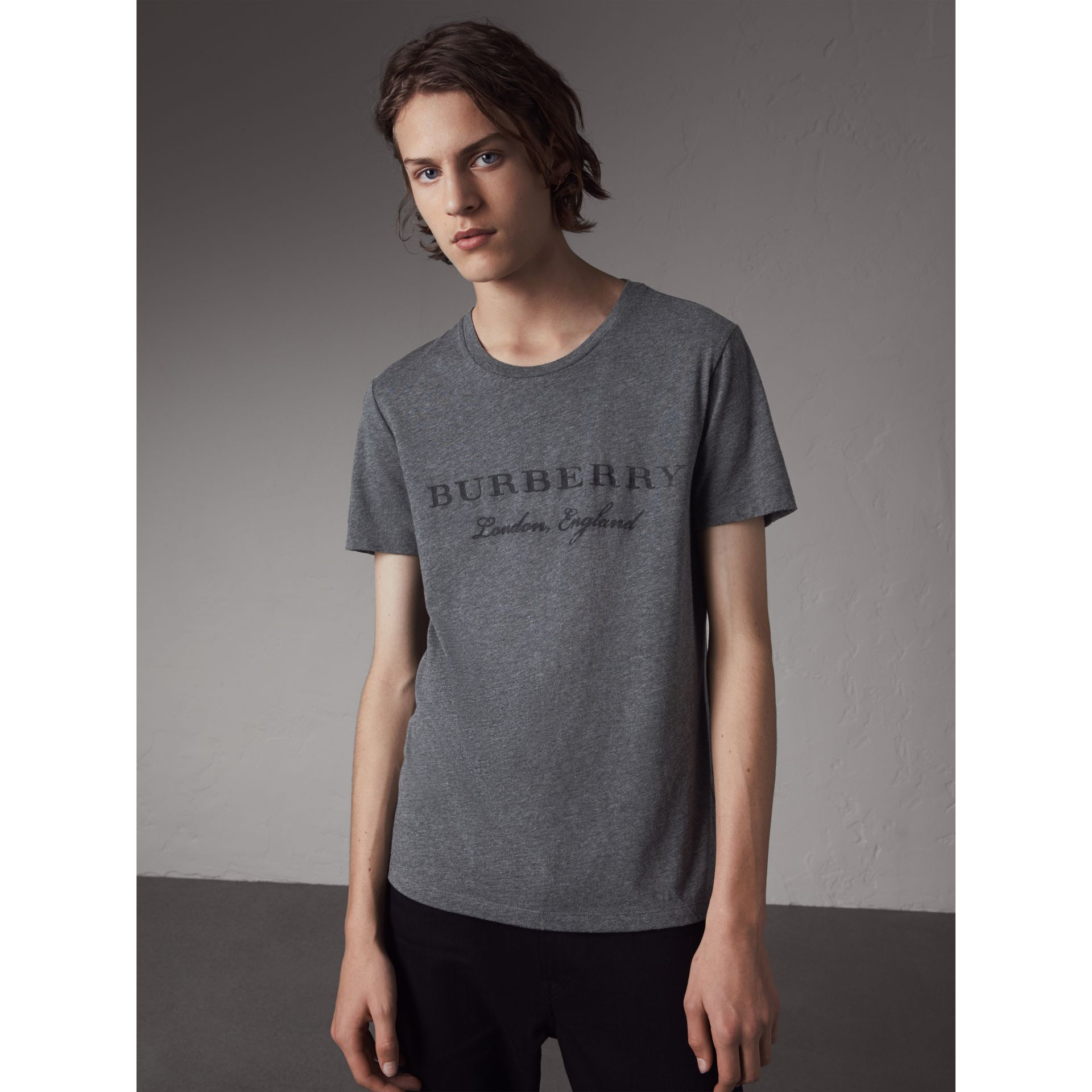 Devoré Cotton Jersey T-shirt in Mid Grey Melange - Men | Burberry United Kingdom - gallery image 1