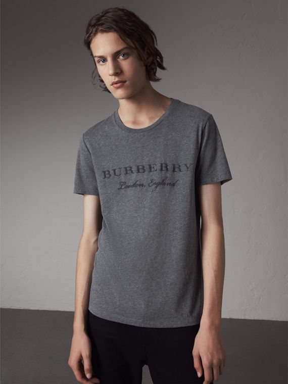 Devoré Cotton Jersey T-shirt in Mid Grey Melange - Men | Burberry