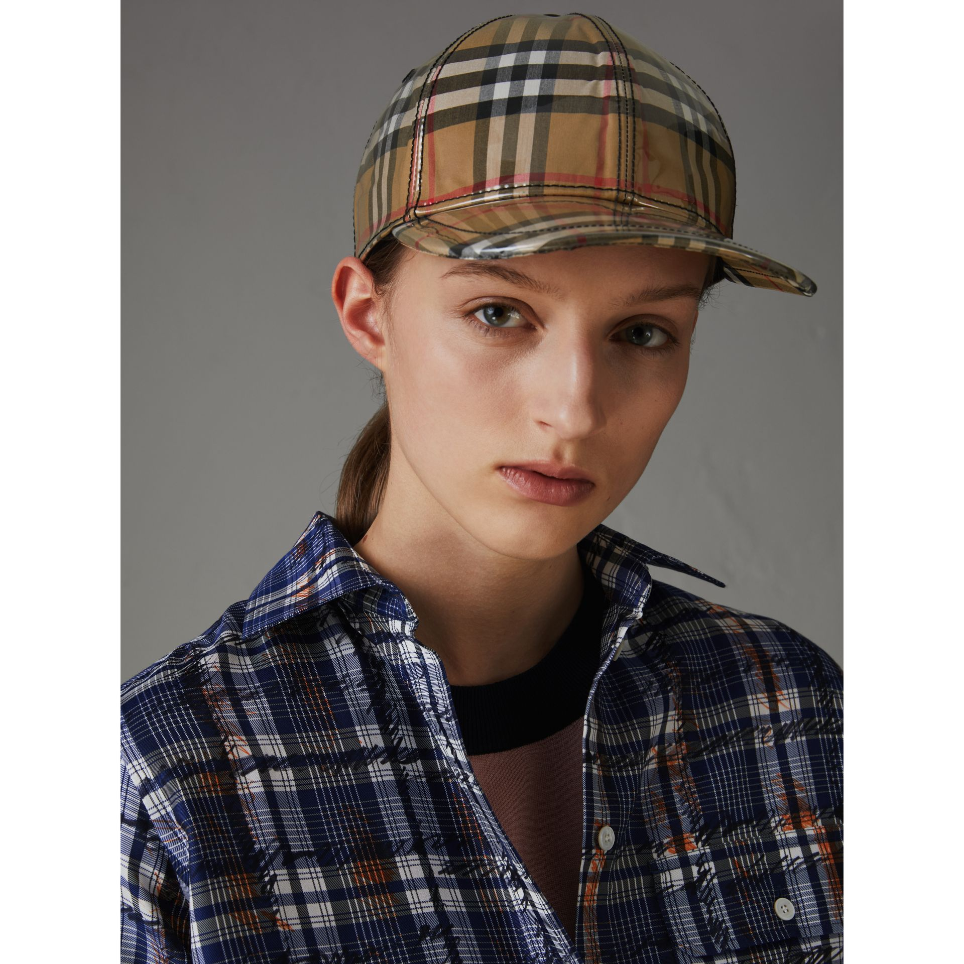 Laminated Vintage Check Baseball Cap in Antique Yellow | Burberry Australia - gallery image 2