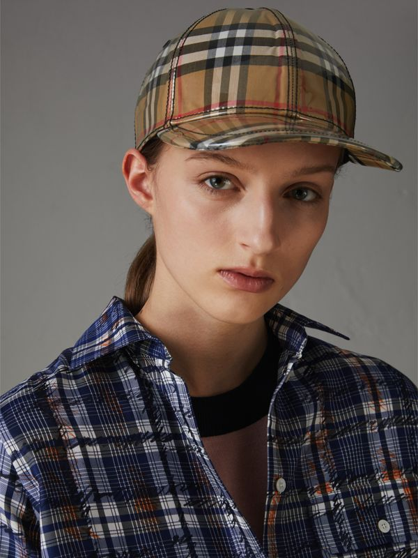 Laminated Vintage Check Baseball Cap in Antique Yellow | Burberry - cell image 2