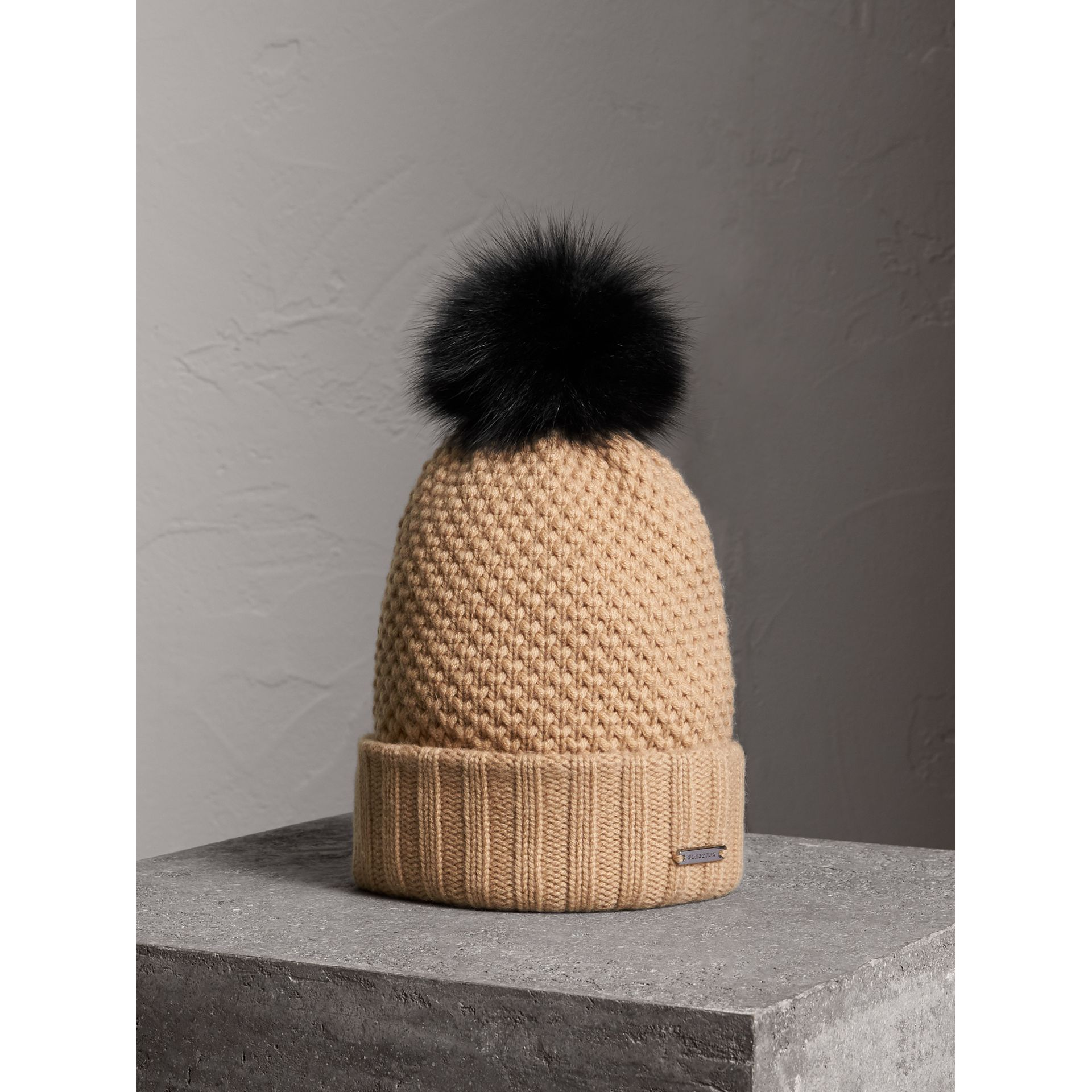 Fur Pom-Pom Wool Cashmere Beanie in Camel - Women | Burberry - gallery image 0