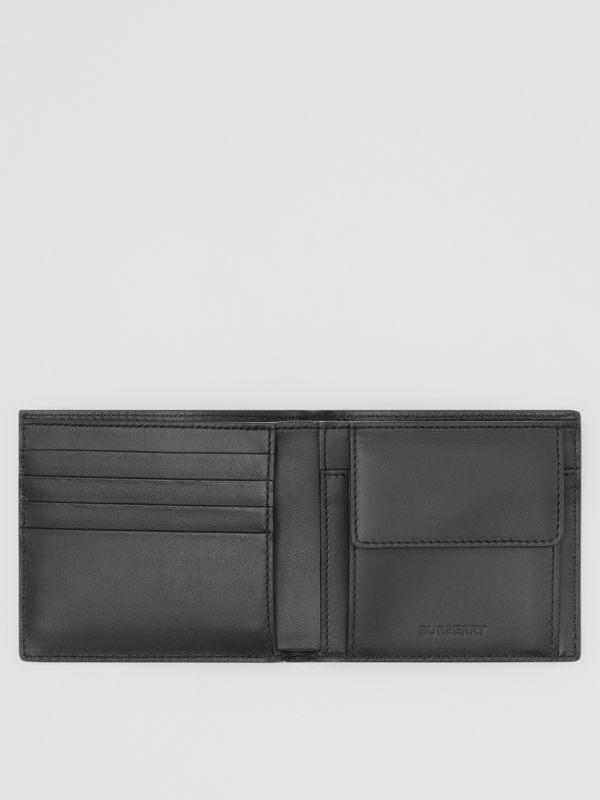 Logo Print Leather International Bifold Coin Wallet in Black | Burberry - cell image 2