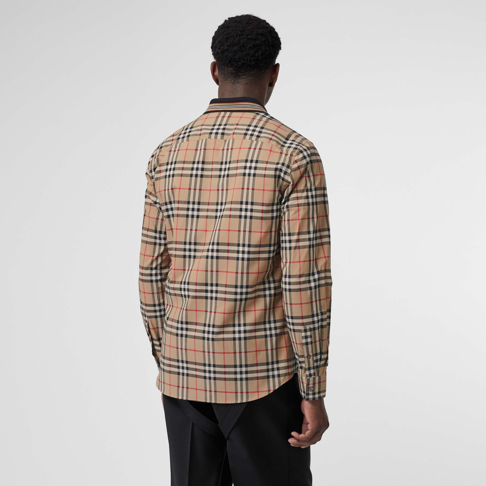 Icon Stripe Detail Vintage Check Cotton Shirt in Archive Beige - Men | Burberry - gallery image 2
