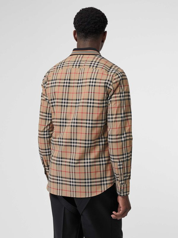 Icon Stripe Detail Vintage Check Cotton Shirt in Archive Beige - Men | Burberry United Kingdom - cell image 2