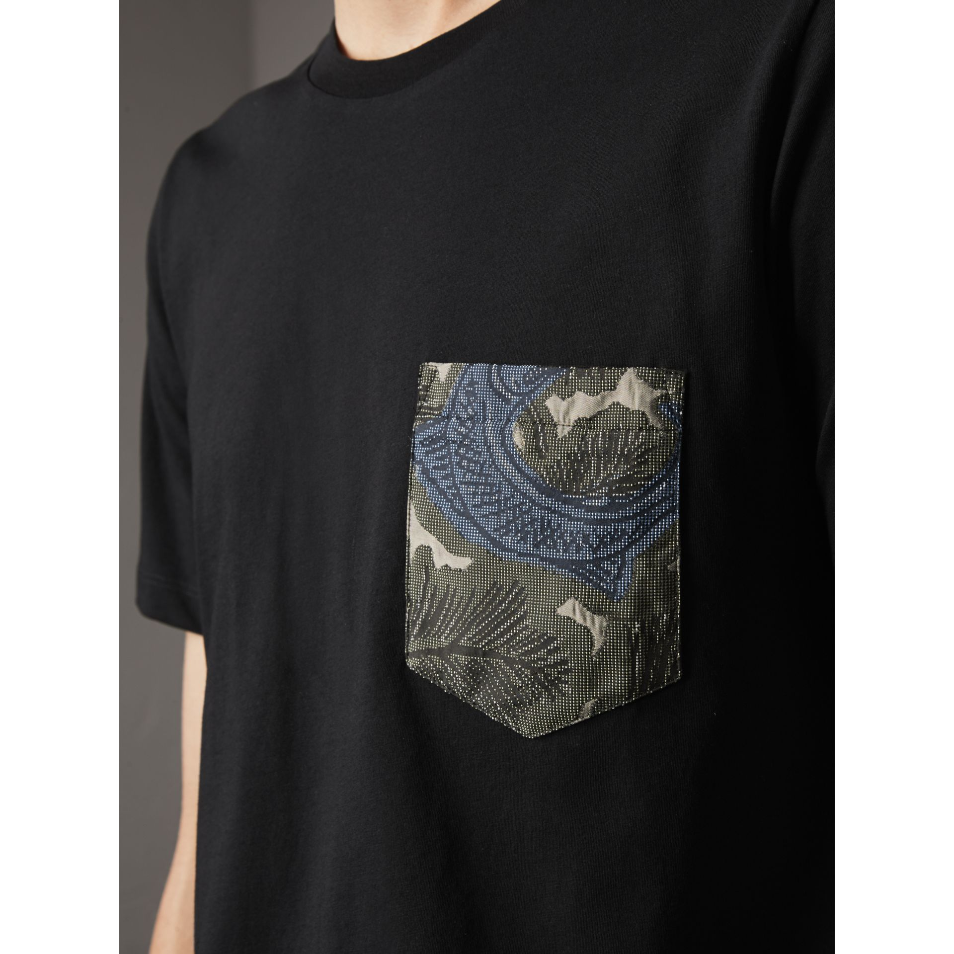 Beasts Jacquard Pocket Detail Cotton T-shirt in Black - Men | Burberry Australia - gallery image 2