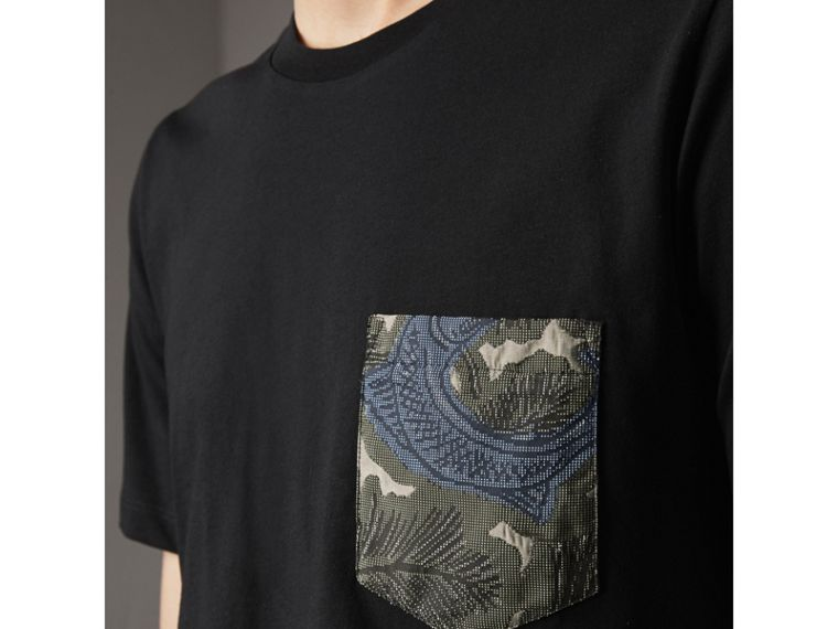 Beasts Jacquard Pocket Detail Cotton T-shirt in Black - Men | Burberry - cell image 1