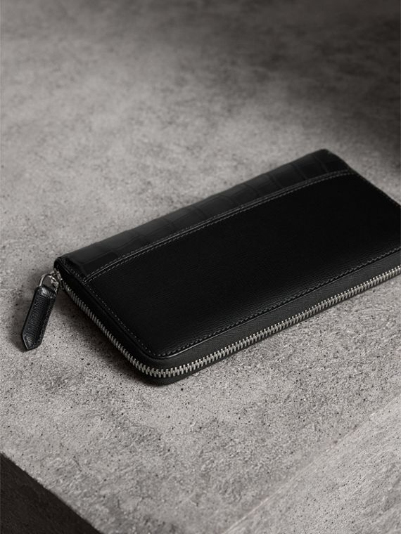 London Leather and Alligator Ziparound Wallet in Black - Men | Burberry United States - cell image 2