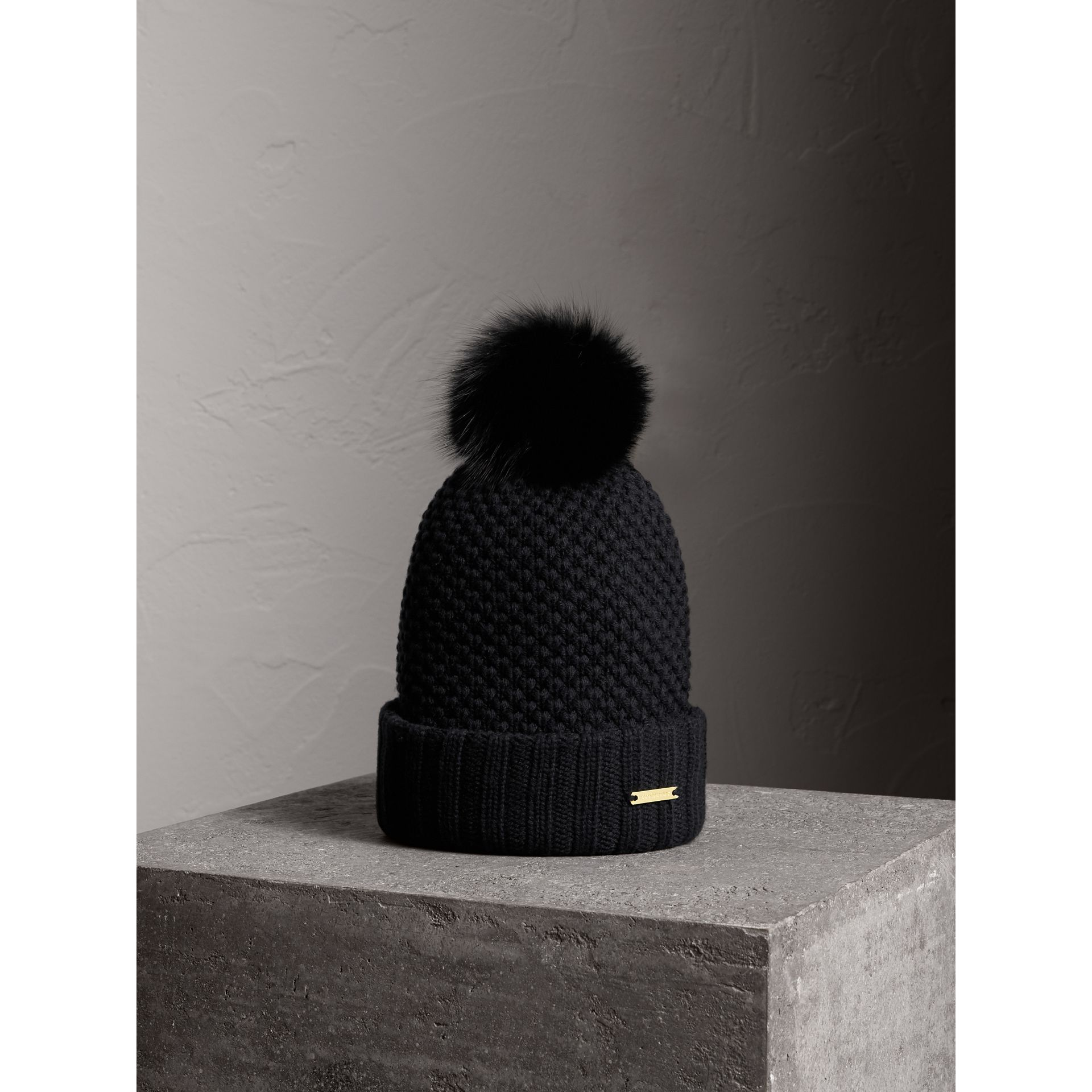 Fur Pom-Pom Beanie in Black - Women | Burberry - gallery image 0