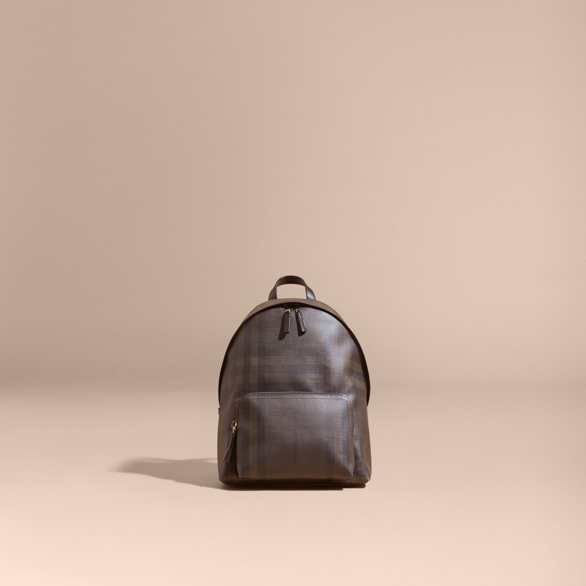 Chocolate/black Leather-trimmed London Check Backpack Chocolate/black - gallery image 8