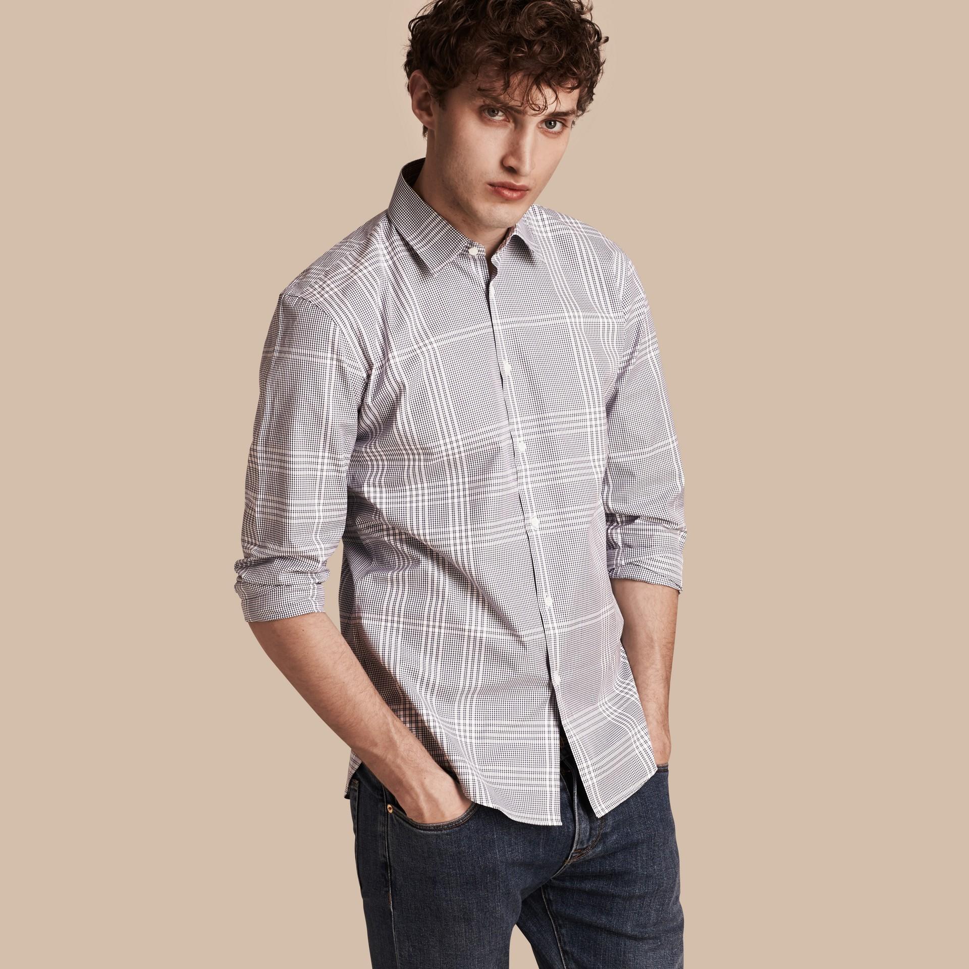 Azul marino intenso Camisa en algodón con estampado de checks Azul Marino Intenso - imagen de la galería 1
