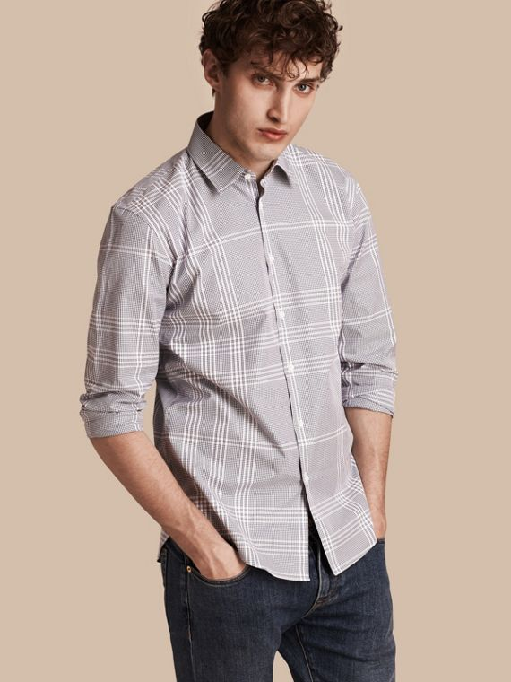Check Cotton Shirt Bright Navy