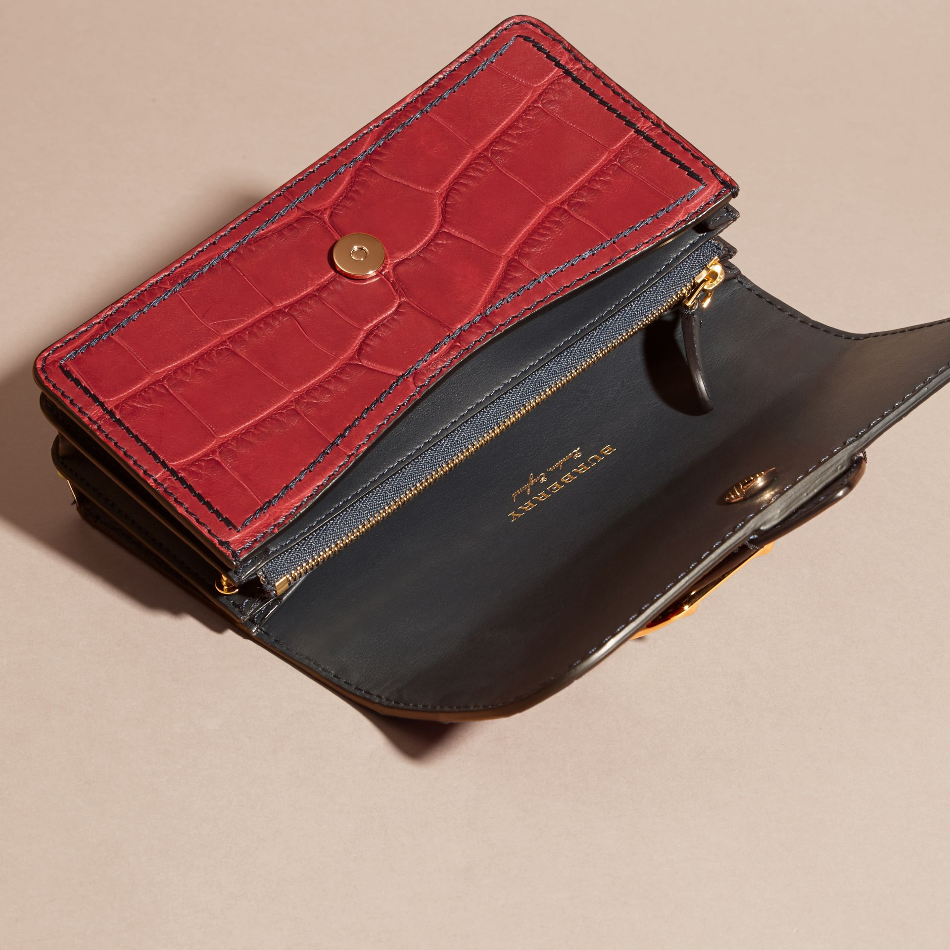 The Small Buckle Bag in Alligator and Leather Garnet Red/sapphire - gallery image 6