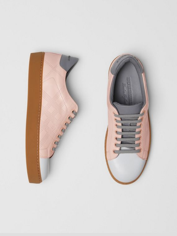 Tri-tone Perforated Check Leather Sneakers in Pale Pink