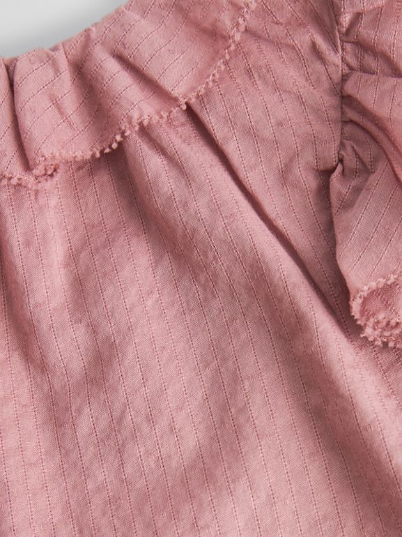 Ruffle Detail Cotton Dress with Bloomers in Light Elderberry - Children | Burberry - cell image 1