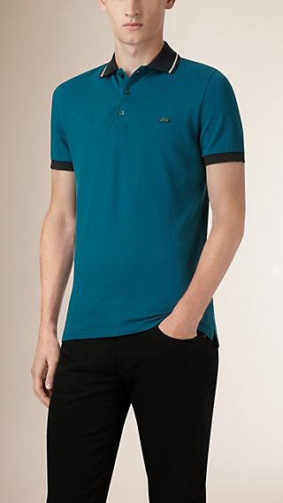 Contrast Trim Cotton Piqué Polo Shirt