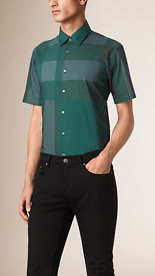 Short-sleeved Graphic Check Cotton Shirt