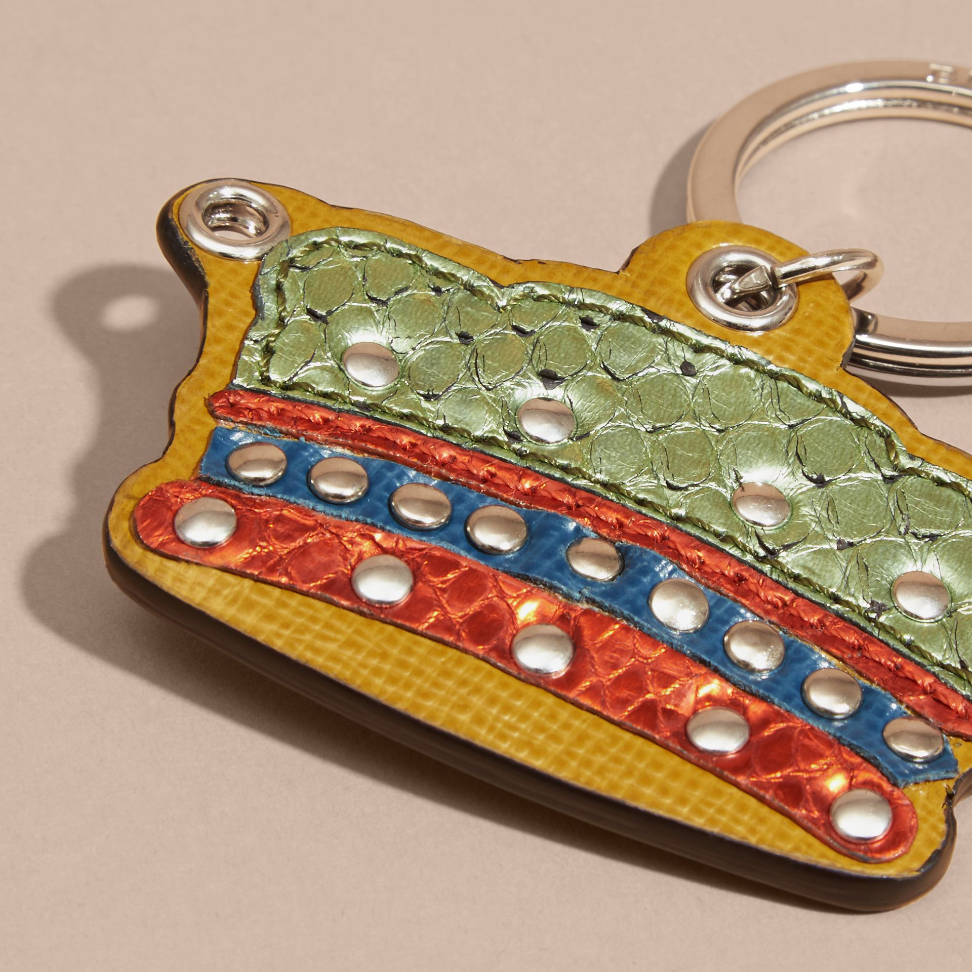 Storm green Snakeskin and Leather Crown Key Ring - gallery image 3