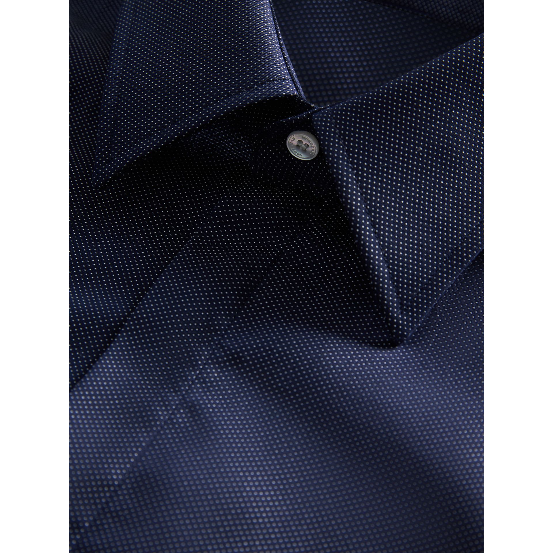 Modern Fit Pin Dot Dobby Cotton Shirt in Navy - Men | Burberry Canada - gallery image 1