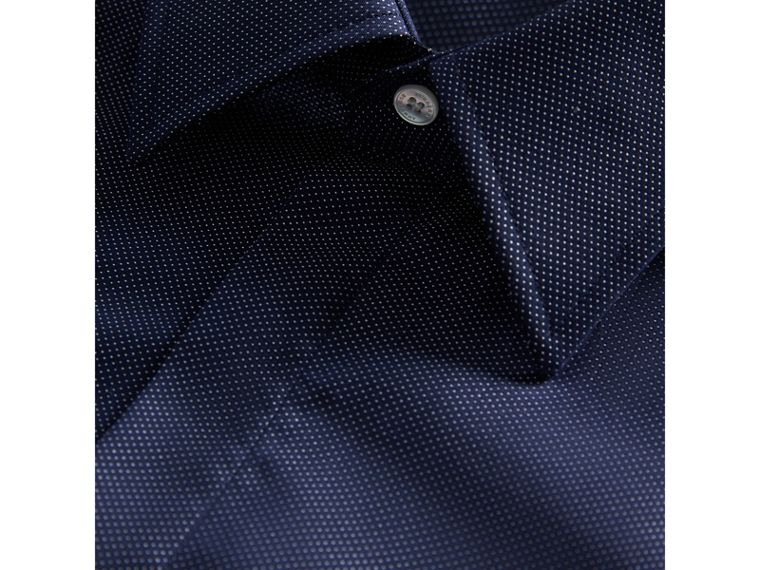 Modern Fit Pin Dot Dobby Cotton Shirt in Navy - Men | Burberry Canada - cell image 1