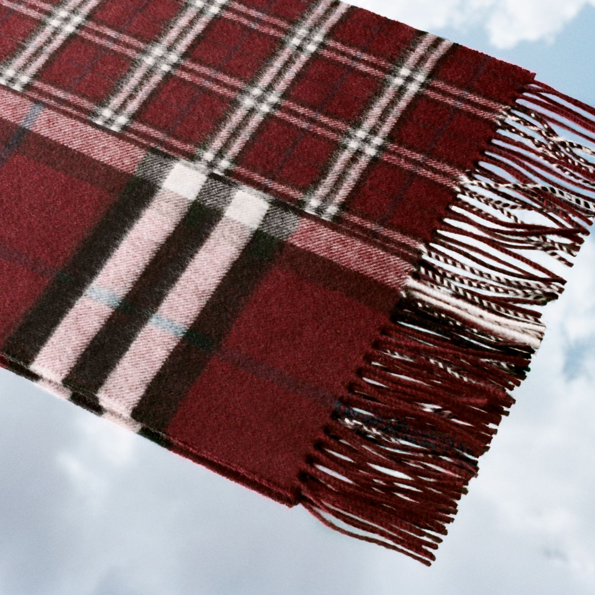 Gosha x Burberry Check Cashmere Double Scarf in Claret | Burberry - gallery image 1