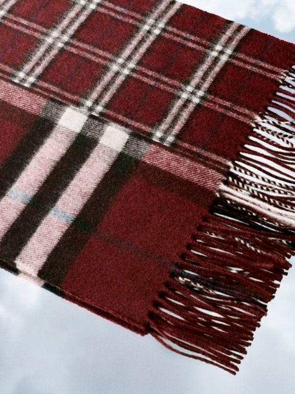Gosha x Burberry Check Cashmere Double Scarf in Claret | Burberry Australia - cell image 1