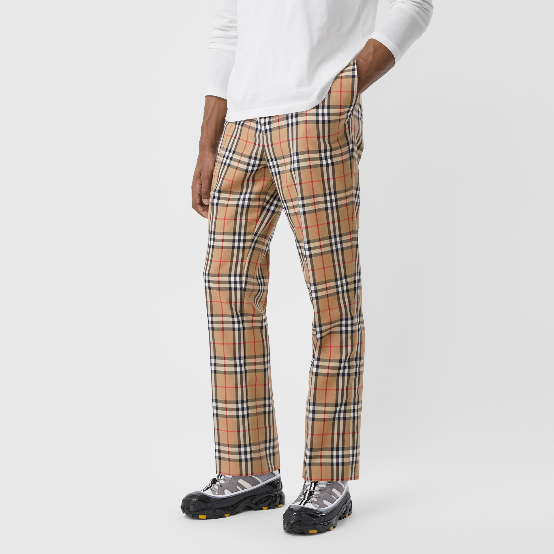 Vintage Check Wool Mohair Tailored Trousers in Archive Beige - Men | Burberry United Kingdom - gallery image 5