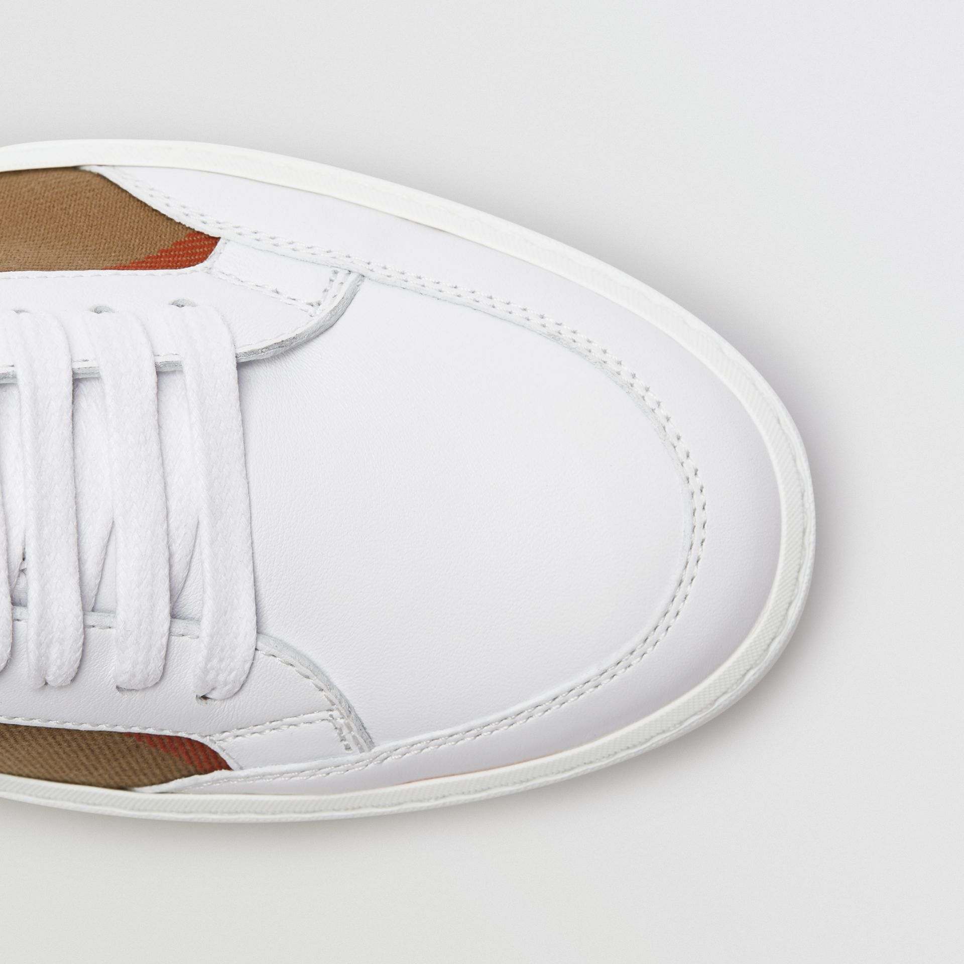 Check Detail Leather Sneakers in House Check/ Optic White - Women | Burberry Australia - gallery image 1
