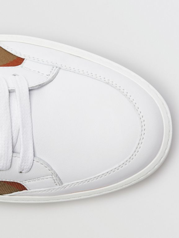 Check Detail Leather Sneakers in House Check/ Optic White - Women | Burberry United Kingdom - cell image 1