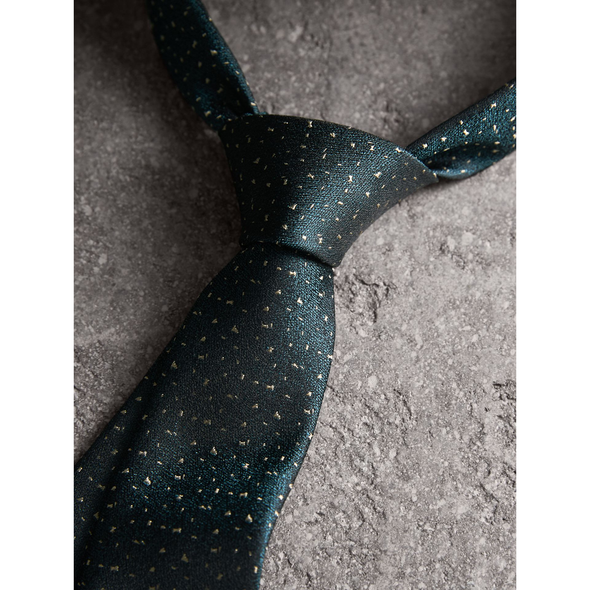 Slim Cut Flecked Silk Tie in Dark Forest Green - Men | Burberry - gallery image 2