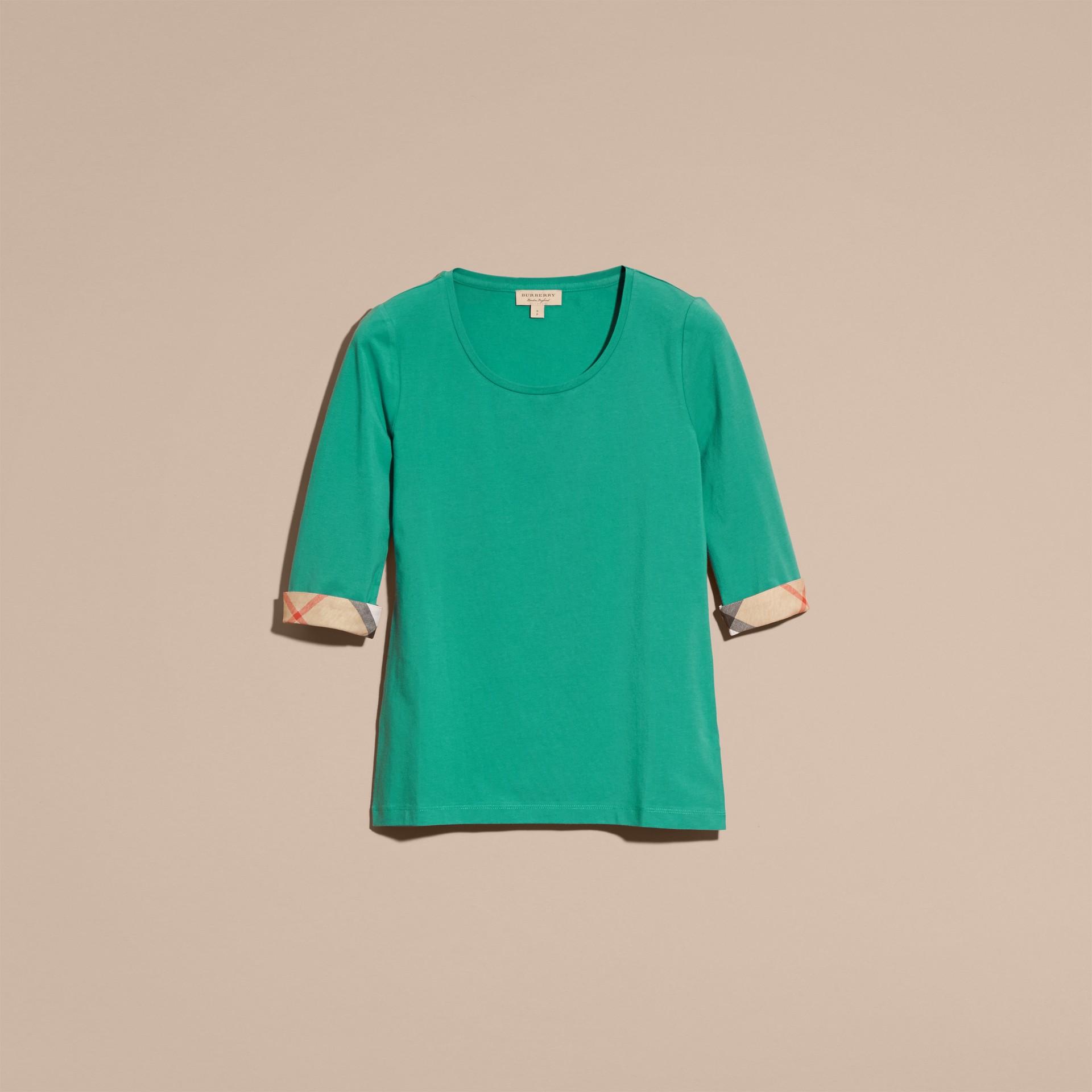 Aqua green Check Cuff Stretch-Cotton Top Aqua Green - gallery image 4