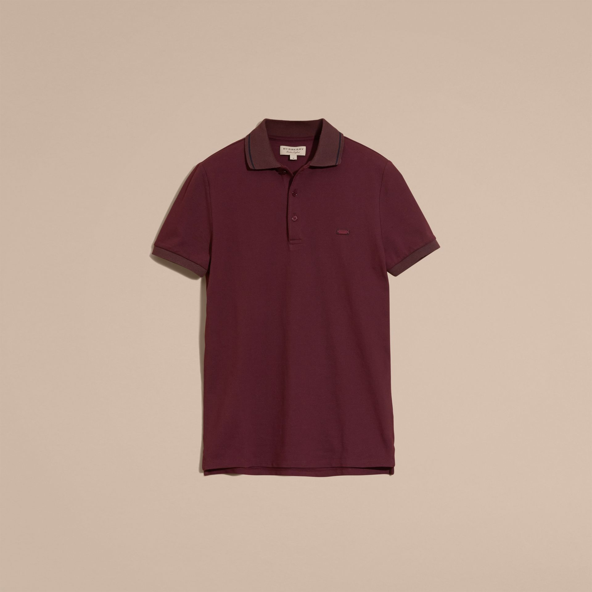 Burgundy red/black Contrast Trim Cotton Piqué Polo Shirt Burgundy Red/black - gallery image 4