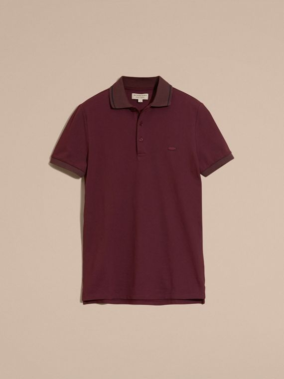 Burgundy red/black Contrast Trim Cotton Piqué Polo Shirt Burgundy Red/black - cell image 3