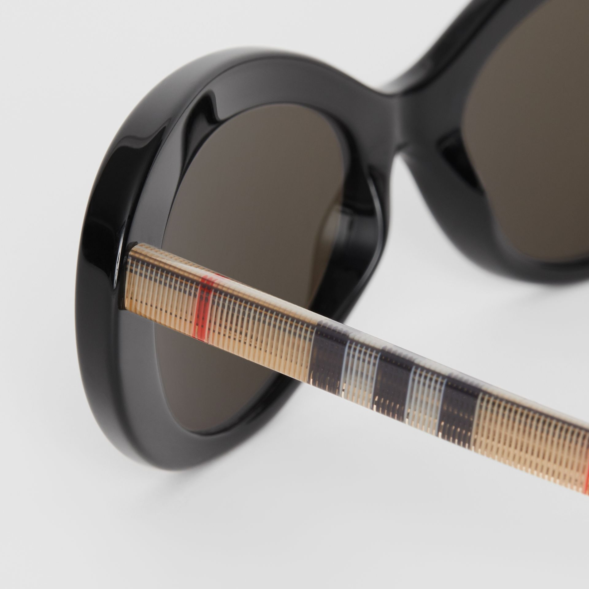 Vintage Check Detail Cat-eye Frame Sunglasses in Black - Women | Burberry United Kingdom - gallery image 1