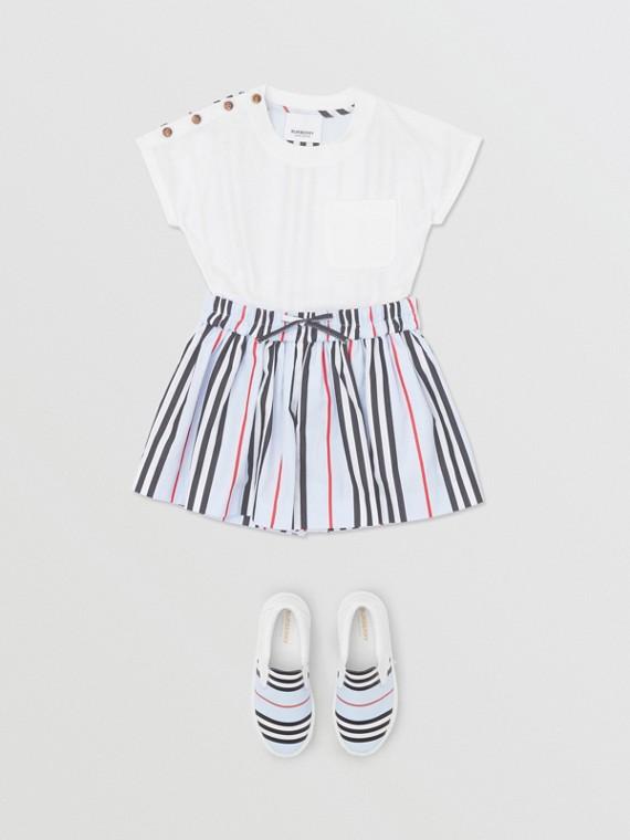 Icon Stripe Cotton Poplin Shorts in Pale Blue