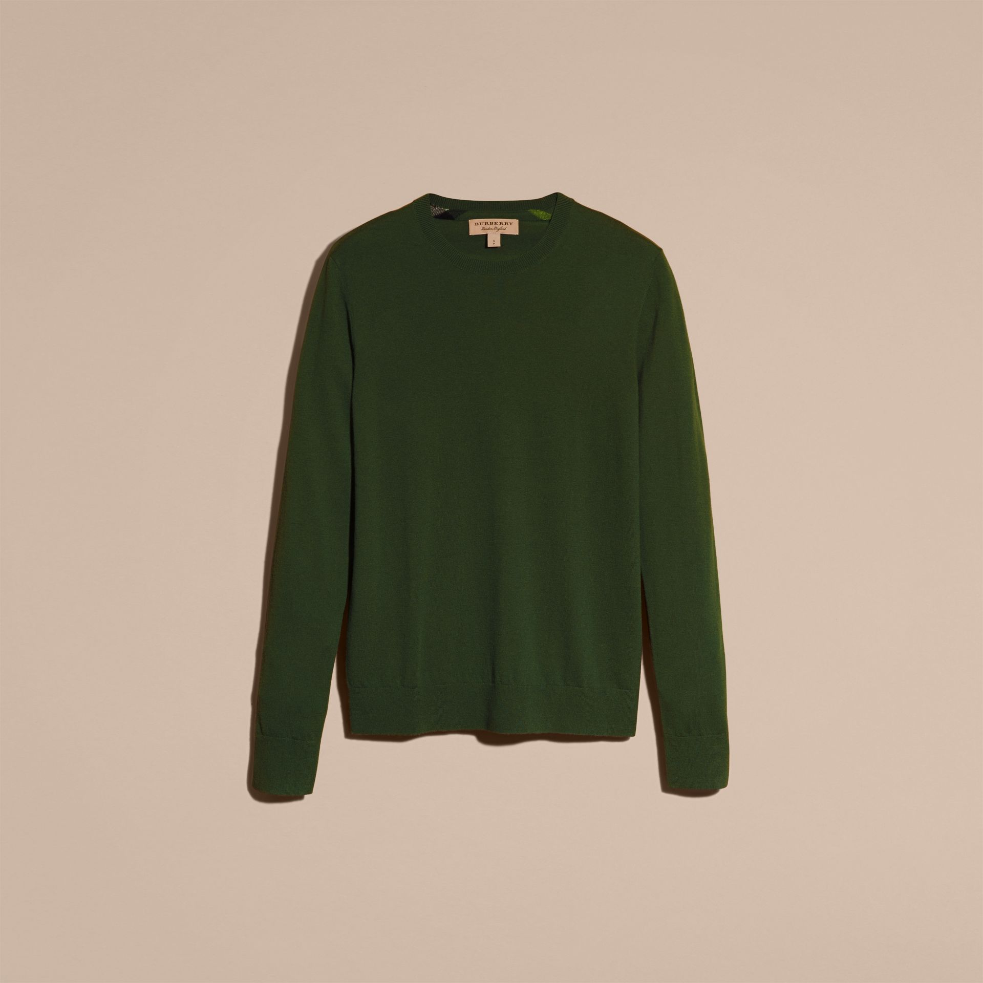 Olive green Lightweight Crew Neck Cashmere Sweater with Check Trim Olive Green - gallery image 4