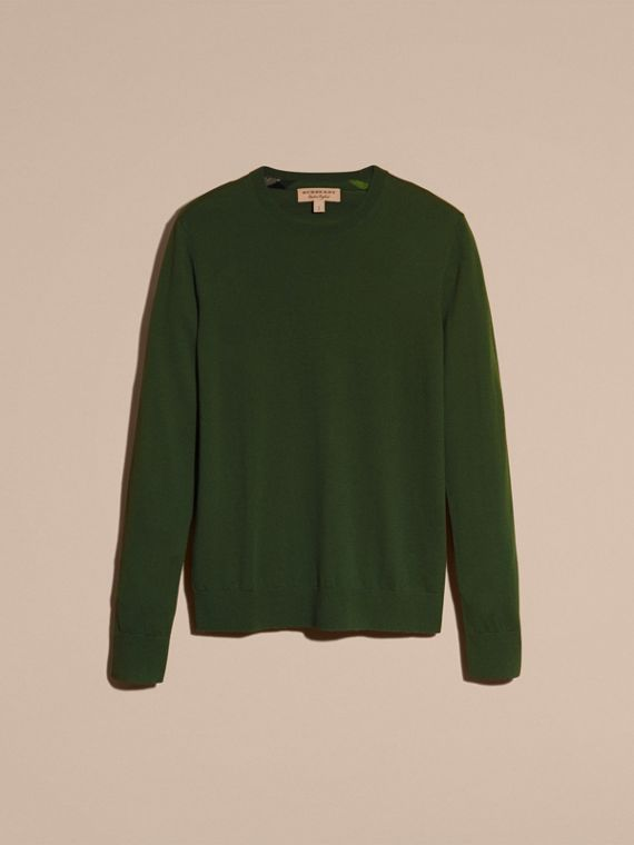 Olive green Lightweight Crew Neck Cashmere Sweater with Check Trim Olive Green - cell image 3