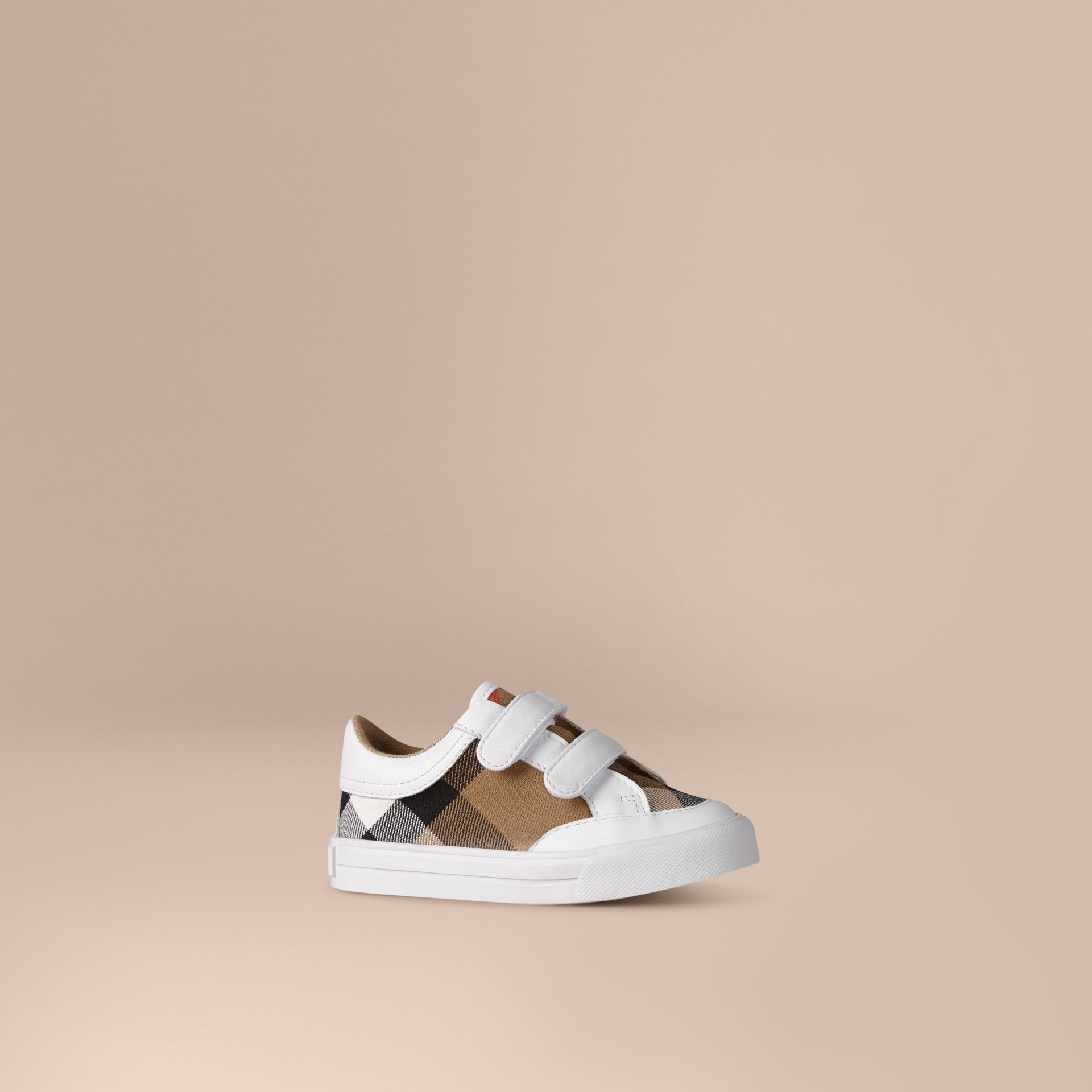 Tennis en cuir avec motif House check (Blanc) | Burberry - photo de la galerie 1