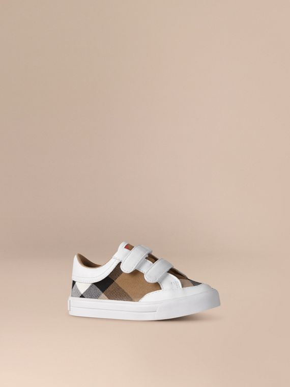 House Check and Leather Trainers in White | Burberry Australia
