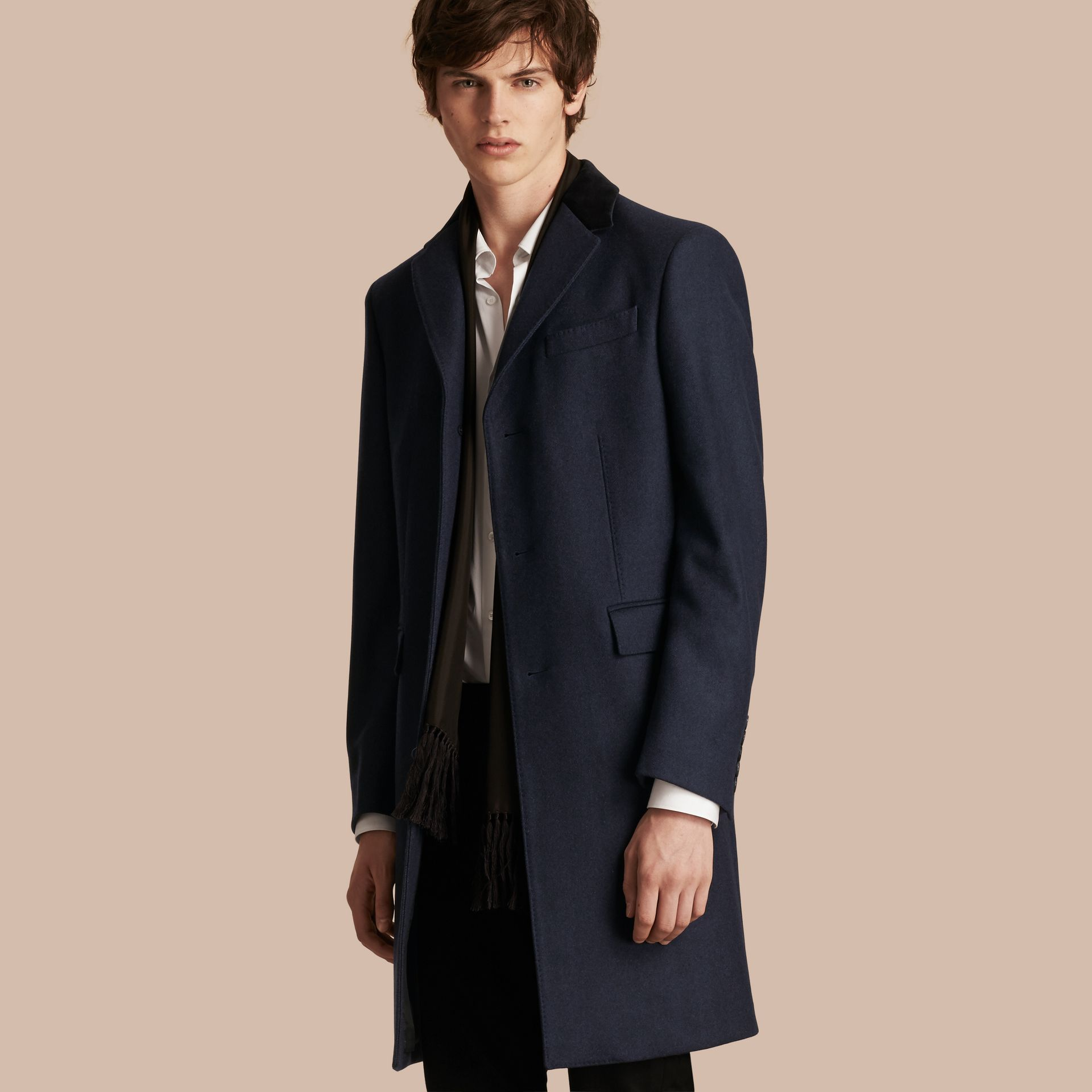 Storm blue Wool Cashmere Coat with Velvet Collar - gallery image 1