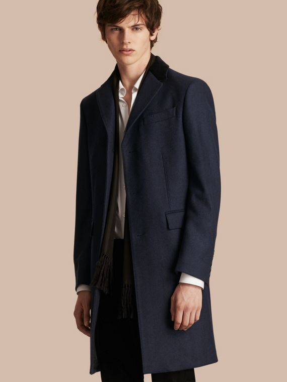 Wool Cashmere Coat with Velvet Collar