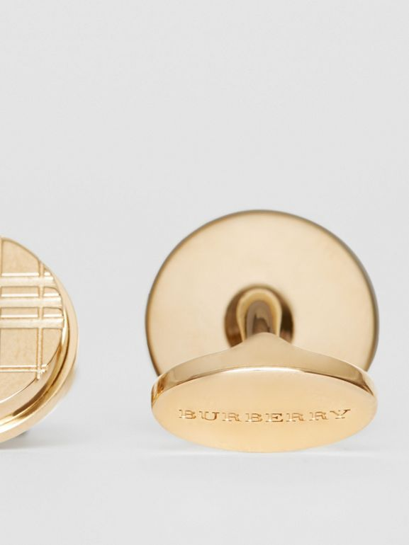 Check-engraved Round Cufflinks in Light Gold - Men | Burberry - cell image 1